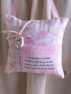 Tooth Fairy Pillow girls by myrecycledmemories on Etsy Diy Projects To Try, Projects For Kids, Craft Projects, Tooth Pillow, Tooth Fairy Pillow, Fabric Crafts, Sewing Crafts, Sewing Projects, Sewing For Kids