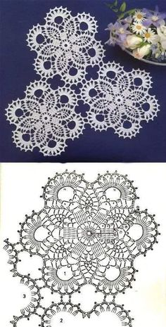 Crochet Ideas With Knitting Patterns - Diy And Crafts Free Crochet Doily Patterns, Crochet Doily Diagram, Crochet Motifs, Crochet Squares, Crochet Chart, Thread Crochet, Crochet Designs, Crochet Stitches, Knitting Patterns