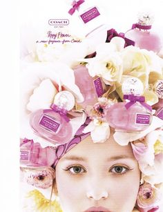 Coach Poppy Flower ad- love the soft yellow and pink eyeshadow with muted pink lips