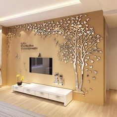 Creative Wall Decor, Tv Wall Decor, Wall Stickers Home Decor, Creative Walls, Decor Room, Living Room Wall Stickers, Wall Decals, Tv Unit Decor, 3d Mirror Wall Stickers