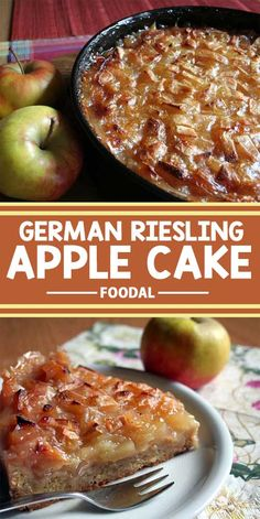A German specialty made with fresh apples and Riesling wine, this cake is a tart and sweet way to use up your apples or to simply satisfy your sweet tooth. Get the recipe on Foodal now! German Desserts, Just Desserts, German Recipes, Austrian Recipes, Delicious Desserts, Apple Recipes, Cake Recipes, Dessert Recipes, Dessert Tray