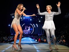 "The Squad's All Here: Keeping Up with Taylor Swift's Epic Tour Cameos | ELLEN DEGENERES | Who wore it better? Something tells us DeGeneres might have won this battle of the glitter during her strut on stage, set to ""Style."""