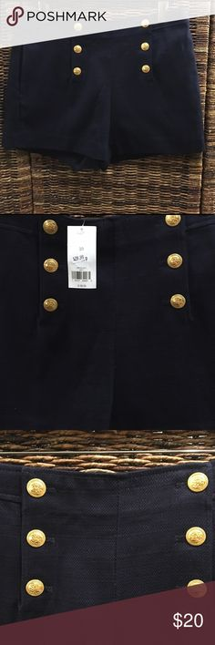 "Banana Republic- Sailor Shorts Summer 2016. Never been worn. New with tags. Rear welted pockets. Front on seam pockets. Inseam: 4"". Three functioning buttons on each side, centered. Navy. Banana Republic Shorts"