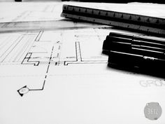 Architecture#//late night work// rotaring pen<3