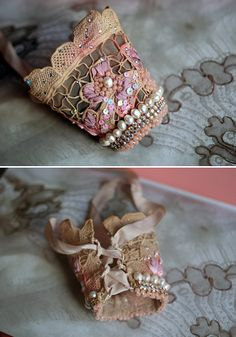 Orchid--romantic antique lace wrist wrap  with hand beading, crystals, freshwater pearls