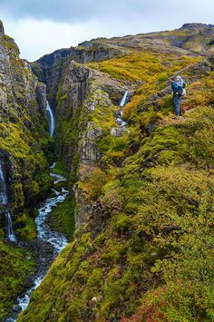 View of the Glymur waterfall in Iceland, the second highest in the country.