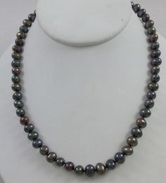 """14KT YELLOW GOLD 7MM RAINBOW BLACK FRESHWATER PEARL 20.5"""" STRAND NECKLACE"""