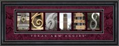 CAMPUS LETTER ART WALL DECOR - AGGIES IN MAROON