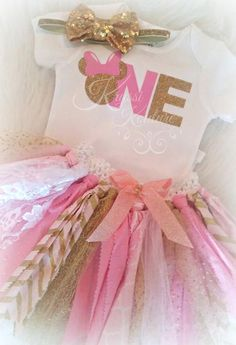 Reasonably Priced Baby Girls First Birthday Minnie Mouse Pink & Gold Glitter Themed Smashcake Onesie Shirt or add a Pink And Gold Rag Tutu to complete the outfit