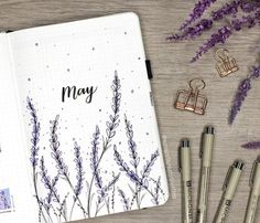 lavender themed may plan with me + bullet journal is up on my ... Notebook Drawing, Bullet Journal Junkies, Bullet Journal Inspiration, Journal Ideas, Drawing Flowers, Bujo, Lavender, Doodles, Diary Ideas