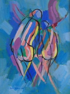 Large Abstract Figurative Painting by by alltheseprettythings #peteradamspainting #abstractpainting #blues