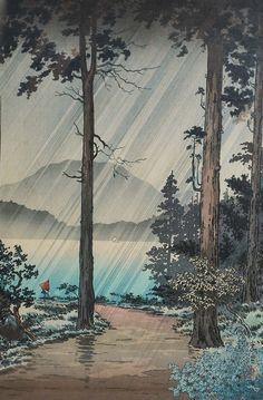 Vintage Japanese block print Morning Rain on Hakone by Tsuchiya Koitsu Lovely Japanese wood block print by the artist Tsuchiya Koitsu. Japanese Woodcut, Art Asiatique, Japanese Illustration, Art Japonais, Landscape Prints, Japanese Painting, Japanese Prints, Japan Art, Museum Of Fine Arts