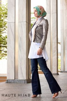 haute hijab white flared shirt dress sparkly blazer hijab model deniz modest fashion muslim hijab style