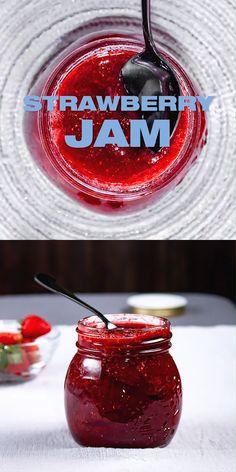 Easy Strawberry Jam Recipe - The BEST Strawberry Jam without pectin. My mum's French recipe. Homemade Strawberry Jam, Strawberry Jelly, Easy Strawberry Jam Recipe Without Pectin, Sure Jell Strawberry Jam Recipe, Easy Strawberry Recipes, Strawberry Preserves, Strawberry Garden, Jelly Recipes, Sweets