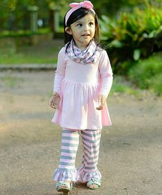 Another great find on #zulily! Pink & Gray Boutique Tunic Set - Infant, Toddler & Girls #zulilyfinds
