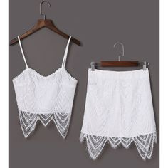 Yoins White Lace Detalis Crop Top & Mini Skirt Co-ord (105 PLN) ❤ liked on Polyvore featuring skirts, mini skirts, white, white lace skirt, lace mini skirt, white skirt, white mini skirt and crop skirt