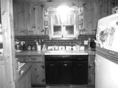 A little fun with a filter.  The Cottage kitchen, with my beloved 1950's Norge Customatic fridge and porcelain sink.  Can't see the Bengal stove, it's to the left.