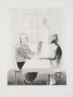 David Hockney Artist and Model 1973-74 Hard and soft-ground etching