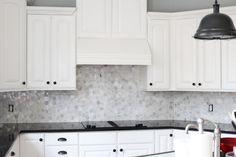 Hexagonal marble tile backsplash, dark granite counter, white cabinets...could do dark grey on the bottom