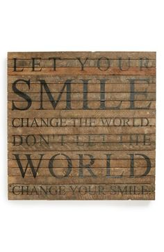 Second Nature by Hand 'Let Your Smile Change the World' Wall Art available at #Nordstrom