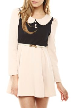 Peter pan collar dress with bow detail. Obsessed!