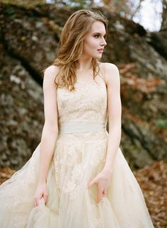 Champagne Lace Wedding Dress   Archetype Studio   Autumn Woodland Wedding at a Country Manor