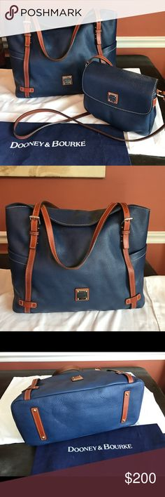 Dooney Ocean pebbled leather set I used this set for my kids football games.  The large bag for blankets and umbrella, etc and the smaller bag for my wallet etc.  They are both in clean wonderful condition. Together this set was $400 new. Dooney & Bourke Bags Totes