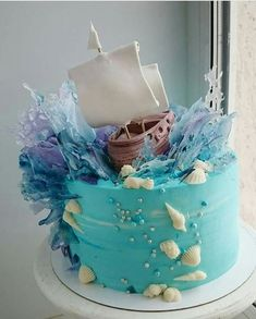 Ship on the ocean cake Gorgeous Cakes, Pretty Cakes, Cute Cakes, Yummy Cakes, Amazing Cakes, Crazy Cakes, Fancy Cakes, Plat Halloween, Ocean Cakes
