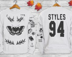 Harry Styles Tattoos One DIRECTION 1D Crewneck Sweatshirt Sweater and Hoodie Jumper add 94 STYLES in front and back