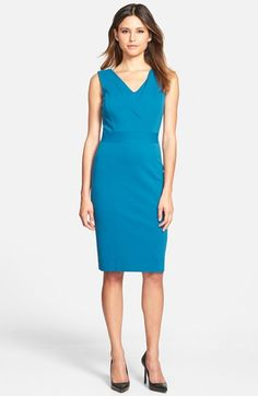 Classiques Entier® Italian Ponte Inset V-Neck Sheath Dress (Regular & Petite) available at #Nordstrom