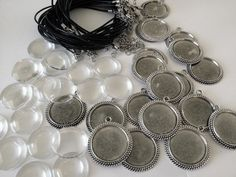 Makes 20 Round Vintage Picture Pendant Leather Necklace Supplies Pack - 30mm