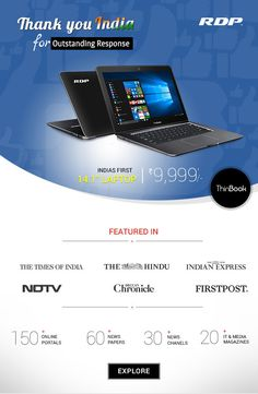 Thank You #India for the Outstanding Response to RDP #ThinBook - a #Laptop at just 9999/-