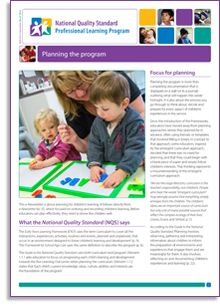 'Planning the program'—by Heather Barnes. This e-Newsletter is about planning for children's learning. It follows directly from e-Newsletter No. 55, which focused on noticing and recording children's learning. The Early Years Learning Framework #EYLF and the National Quality Standard #NQS require educators to plan programs for children and to document their plans.