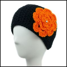 Black Earwarmer with Orange Flower. This crochet earwarmer would be great for tailgating at Cincinnati  Bengals football games this fall and winter.