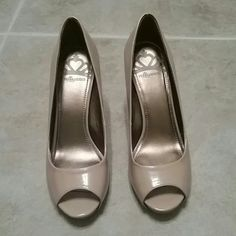 Nude heels prep toe Nude Fergalicious heels.  3 inch heel.  Peep toe.  Great condition. Worn once for a wedding. Fergie Shoes Heels