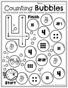 Number Recognition & Matching Activity -Ocean Worksheets Preschool