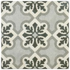 Merola Tile Vintage Ruzafa 9-3/4 in. x 9-3/4 in. Porcelain Floor and Wall Tile (10.76 sq. ft. / case), Black/White And Grey/Low Sheen