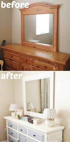 44 Trendy Ideas for bedroom dresser design furniture makeover Cheap Furniture Makeover, Diy Furniture Renovation, Diy Furniture Easy, Diy Furniture Projects, Furniture Decor, Furniture Design, Chair Makeover, Dresser Furniture, Furniture Stores
