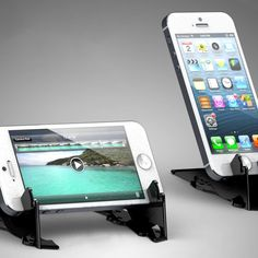 The Pocket Tripod lets you prop up your iPhone at any angle. Its as thin as a couple of credit cards, easily fitting into your wallet.