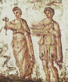 Caino e Abele, IV d.C. Catacombe di Via Latina, Grottaferrata. Cultura cristiana romana