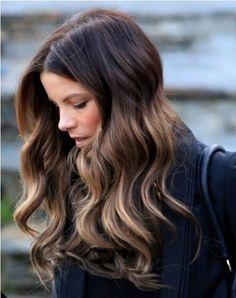 Long dark hair with blonde highlights. Kate Beckinsale