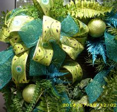 XL Christmas Wreath, aqua, and lime green peacock  ribbon,  with lights on Etsy, $103.00