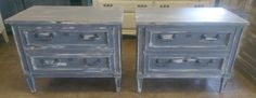 "Here are some more nightstands! These ones have a matching five drawer chest of drawers too. What do you think?  The dimensions are 28"" L, 17"" W, 22"" H. SOLD!! for $275 https://www.pinterest.com/shabbychictexas/my-shabby-chic-nightstands/"