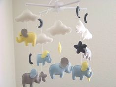 Yellow blue gray baby mobile yellow elephant by dlgNurseryBoutique