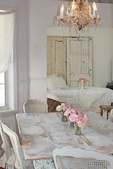 .The white room, soft curtains, chippy table, pale pink roses, gorgeous chandy...<3
