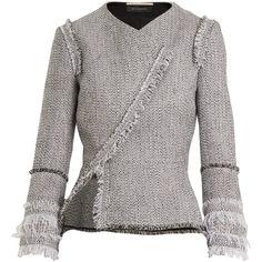 Roland Mouret Kirkham asymmetric tweed jacket (54 910 UAH) ❤ liked on Polyvore featuring outerwear, jackets, white multi, white asymmetrical jacket, white tweed jacket, wrap jacket, white cami and tweed fringe jacket