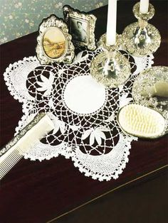 Crochet Doilies - Floral Doily Crochet Patterns - Small Centerpiece in Crescent and Half-Daisy