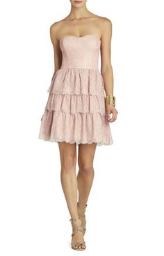 BARE PINK Pink EVENING - Lilah Tiered-Lace Strapless Dress