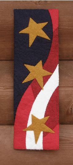 Wool Applique Stars and Stripes Patriotic Wool Banner