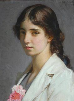 Sir George Clausen [George Clausen] (1852–1944): Nellie St John Heaton, 1914, oil on canvas, 44.5 x 34.4 cm, The Bowes Museum, Barnard Castle, County Durham, England, United Kingdom, source: bbc.co.uk.